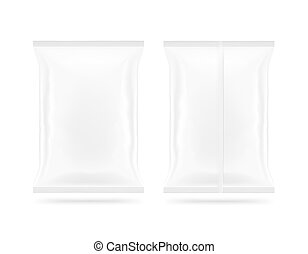 Blank white snack bag mock up front and back side isolated. Clear white chips pack mockup. Cookie, candy, sugar, cracker, nuts, jujube supermarket foil plastic frozen container packet.