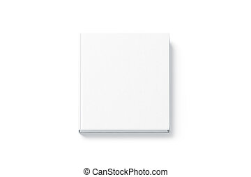 Blank white square hardback book mock up, top view