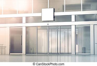 Blank white square signage mockup on store glass sliding doors