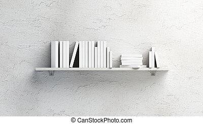 Blank white stack of books mockups on shelf mounted - Blank...