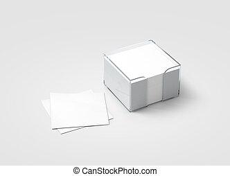 Blank white sticker note block plastic holder mockup,...