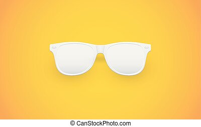 Blank white sunglasses on yellow background, vector illustration