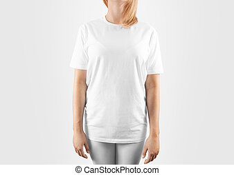 Blank white t-shirt design mockup, isolated, clipping path....
