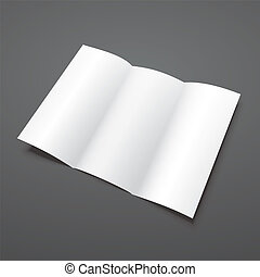 Blank white tri fold vector brochure template.