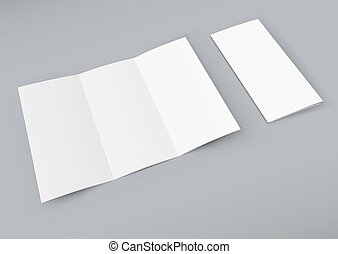 Blank white trifold booklet isolated on color background.