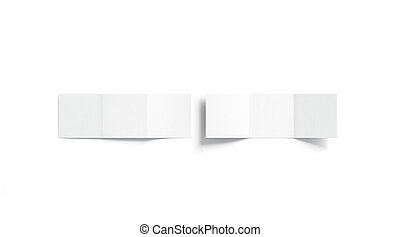 Blank white trifold booklet mock up, top view