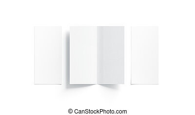 Blank white two folded booklet mock up, opened and closed