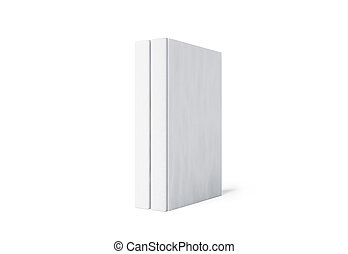Blank white two hard cover book spine mockup stand isolated