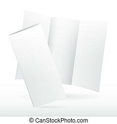 Blank white vector tri fold brochure template.