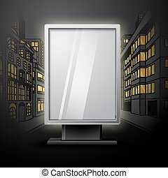 Blank white vertical billboard on night city scape blueprint, with place for your design and branding under the glass. Vector