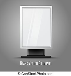 Blank white vertical billboard with place for your design and branding under the glass, isolated on grey background. Vector