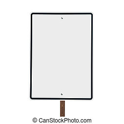 Blank white vertical road sign isolated. - Blank White...