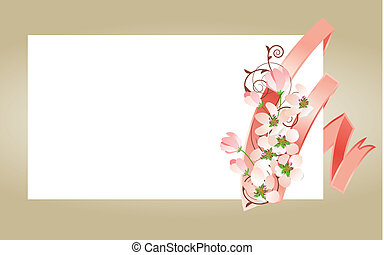 Blank white visit card with pink ribbon and blossoming branch