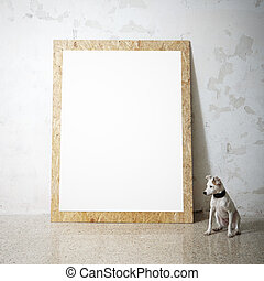 Blank white wooden natural frame and little dog - Blank ...