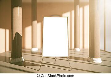 Blank whiteboard in interior