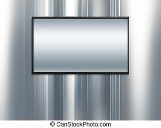 blank wide screen TV with platinum metal background - blank...