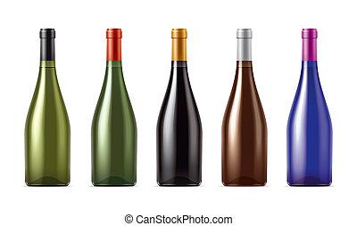 Blank Wine bottles set