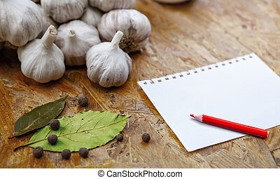 blank with pensil with garlic - blank for recipe or note ...