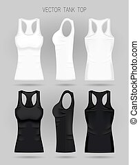 Blank women s white and black tank top in front, back and side views. Vector illustration.