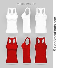 Blank women s white and red tank top in front, back and side views. Vector illustration.