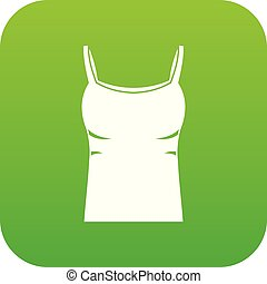 Blank women tank top icon digital green