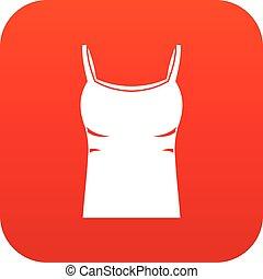 Blank women tank top icon digital red