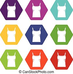 Blank women tank top icon set color hexahedron