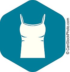 Blank women tank top icon, simple style