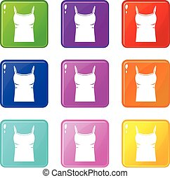 Blank women tank top icons 9 set