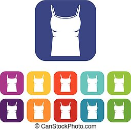 Blank women tank top icons set flat