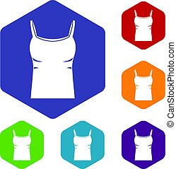 Blank women tank top icons set hexagon