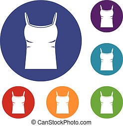 Blank women tank top icons set