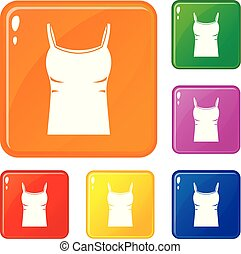 Blank women tank top icons set vector color