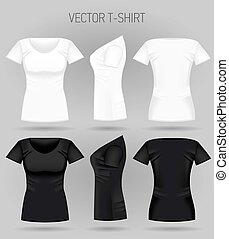 Blank women's white and black t-shirt in front, back and side views. Realistic female sport shirts
