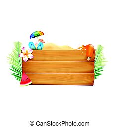 Blank wood board with copyspace and summer beach element on white background vector illustration eps10
