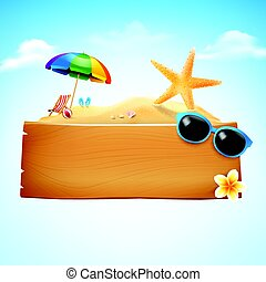 Blank wood board with copyspace and summer beach element