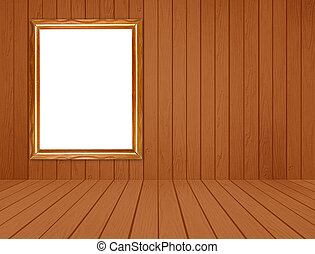 wood frame in room with white wood wall and wood floor backgroun