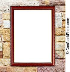 blank wood frame on brick stone wall background