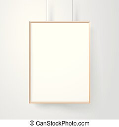 Blank wood frame on the wall vector mockup