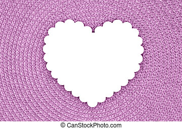 Blank wood heart on an pink textured concentric circle fabric material