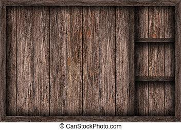Blank wooden bookshelf