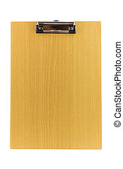 wooden clipboard isolated on white background