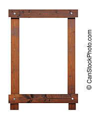 Blank wooden frame with copy space, white background.