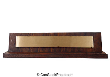 name plate - Blank wooden name plate, isolated on white...