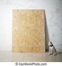 Blank wooden natural frame and littel dog - Blank wooden ...