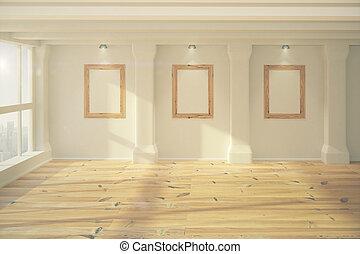 Blank wooden picture frames in empty room with wooden floor, mock up, 3D Render