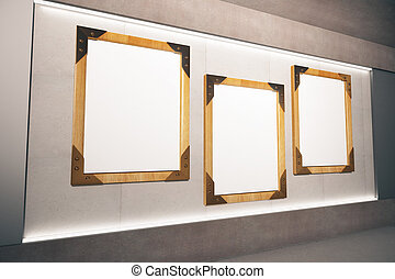 Blank wooden picture frames on beige wall in empty room, mock up, 3D Render