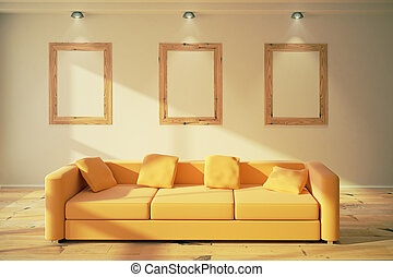 Blank wooden picture frames on the wall in modern room with yellow sofa, 3D Render, mock up