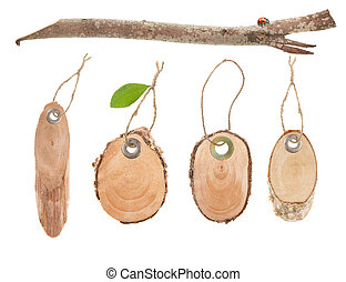 blank wooden price tags