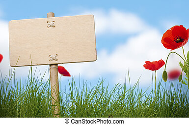blank wooden sign and green grass with poppies flowers, blue sky and blurred clouds,room for text